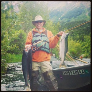 Glen from Texas enjoying his day on the Kenai River with a days catch of Sockeye Salmon caught on a fly rod.