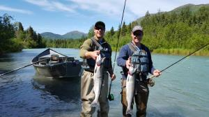 Father and son spending the day together.  Bring home the Sockeye Salmon!